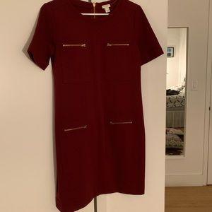 Maroon JCrew Factory dress with zipper pockets